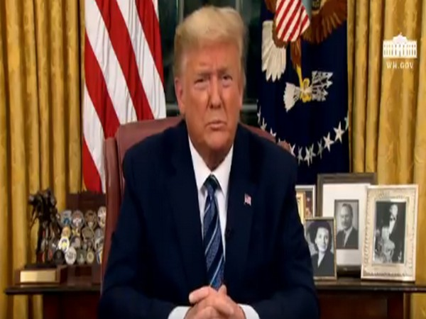 President Donald Trump addressing the nation from the Oval Office on Wednesday evening