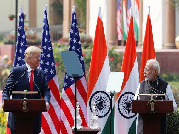 US President Donald Trump and Prime Minister Narendra Modi attend a joint news conference after bilateral talks at Hyderabad House in New Delhi.