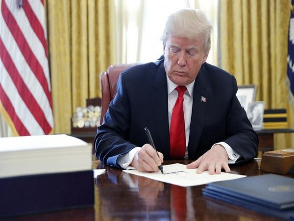 United States President Donald Trump signing drug bill