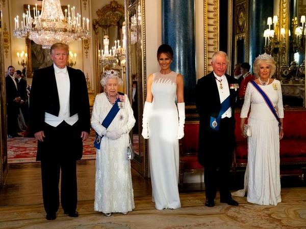 US President Donald Trump, Britain's Queen Elizabeth, Melania Trump, Prince Charles, Duchess of Cornwall