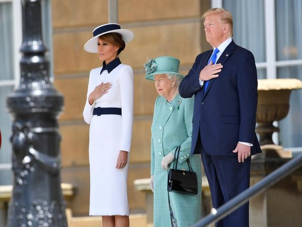 U.S. President Donald Trump and First Lady Melania Trump attend a welcome ceremony with Britain's Queen Elizabeth at Buckingham Palace, in London, Britain