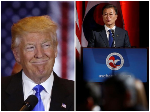 US President Donald Trump (L) and South Korean counterpart Moon Jae-in (R) (File photo)