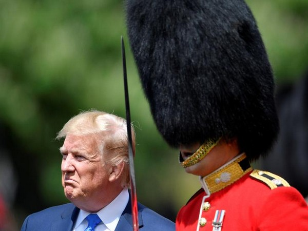 United States President Donald Trump inspects the Guard of Honour at Buckingham Palace