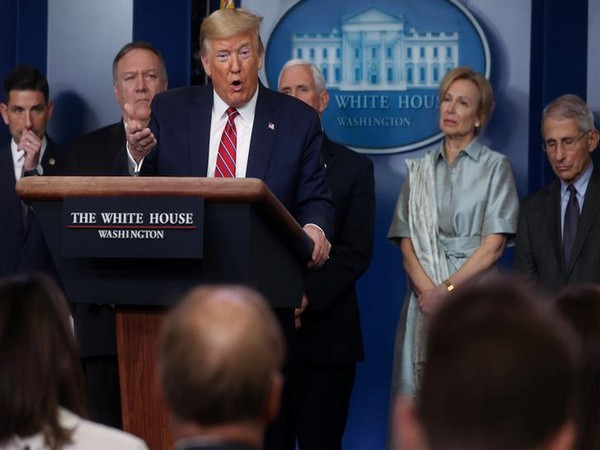 U.S. President Donald Trump at a briefing at the White House in Washington on Saturday.