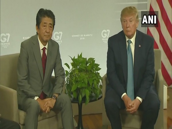 US President Donald Trump and Japan Prime Minister Shinzo Abe meet at G-7 summit in Biarritz, France, on Sunday.