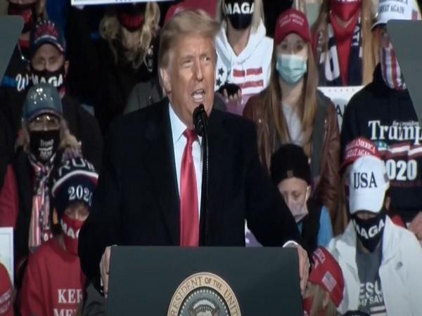 US President Donald Trump at Johnstown, Pennsylvania