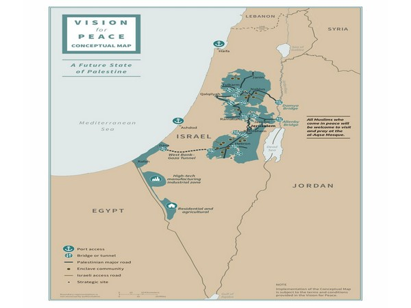 The map of the 'future state of Palestine' as conceptualised under the Middle East plan. (Photo courtesy/Trump twitter)