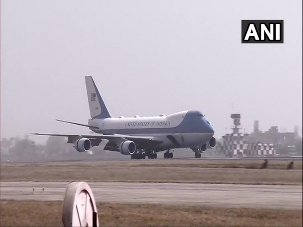 US President Donald Trump and First Lady Melania Trump land in Ahmedabad in Gujarat.