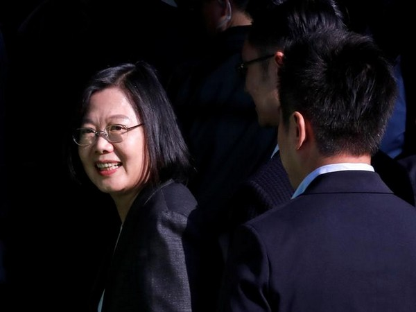 Taiwan President Tsai Ing-wen at a polling station during general elections in New Taipei City