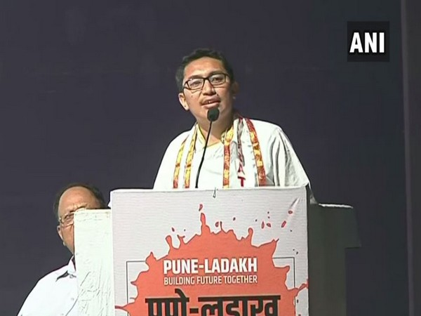 Ladakh BJP MP Jamyang Tsering Namgyal during his address in Pune on Wednesday. Photo/ANI