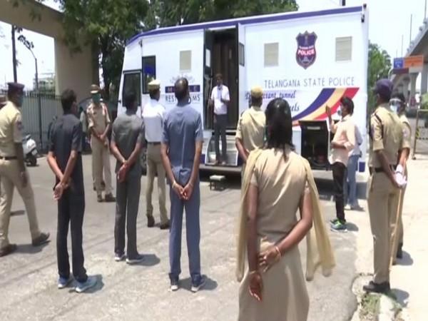 Telangana Police Transport Organisation builds Mobile Disinfectant Chamber for officers to fight COVID-19. Photo/ANI
