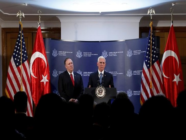 US Vice President Mike Pence and State Secretary Mike Pompeo addressing a press conference in Ankara on Thursday.