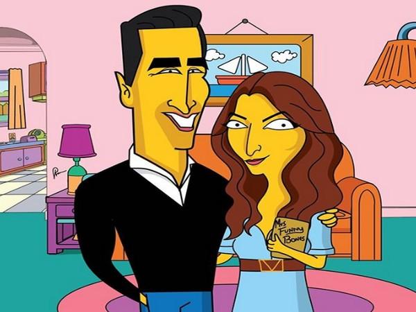Cartoon picture of Twinkle Khanna and Akshay Kumar (Image courtesy: Instagram)