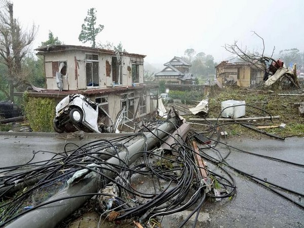 Destruction caused from the strong winds shortly before Typhoon Hagibis made landfall in Japan.