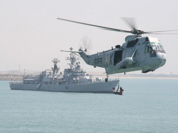 UH 3H helicopter carried out the search mission in Godavari on Monday. Photo/Indian Navy