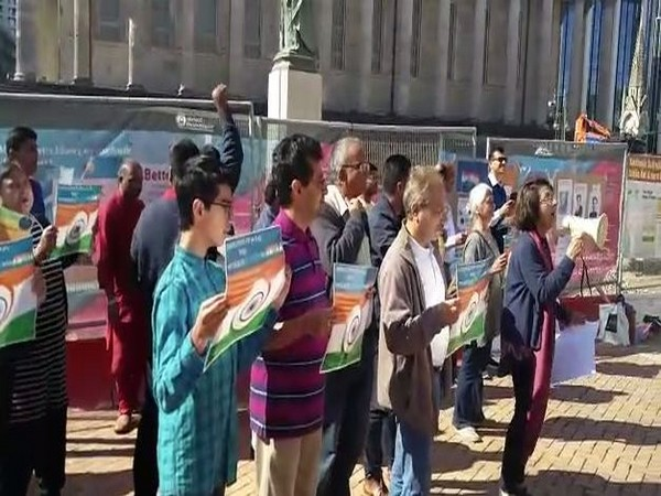 Protest being held at the Victorian Square in Birmingham against the anti-India propaganda on Kashmir. (Photo/ANI)