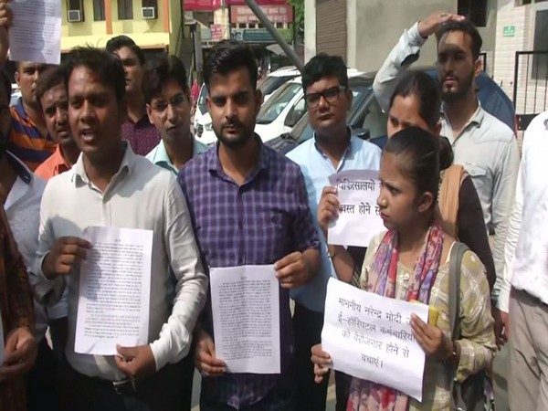 Government hospital workers during a protest in Uttar Pradesh on Monday.