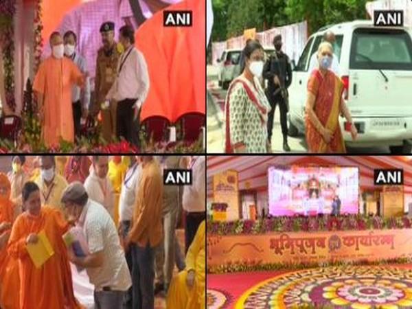 Uttar Pradesh Chief Minister Yogi Adityanath, Governor Anandiben Patel and BJP national vice president Uma Bharti have arrived at Ram Janambhoomi site. Photo/ANI