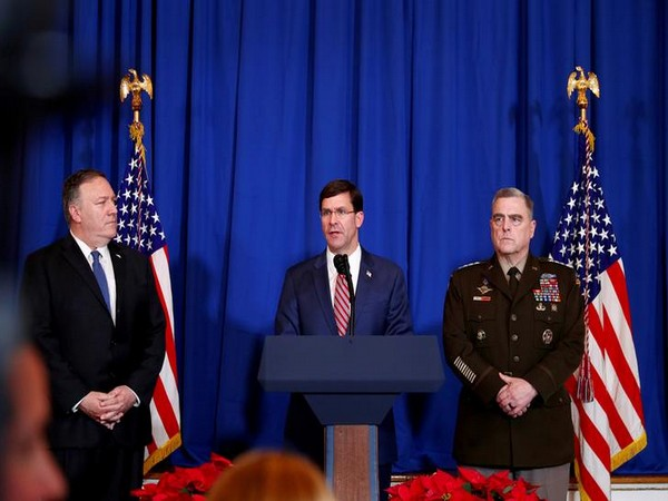 US Defense Secretary Mark Esper speaks about airstrikes by US military in Iraq and Syria. With him are Army General Mark Milley and Secretary of State Mike Pompeo.