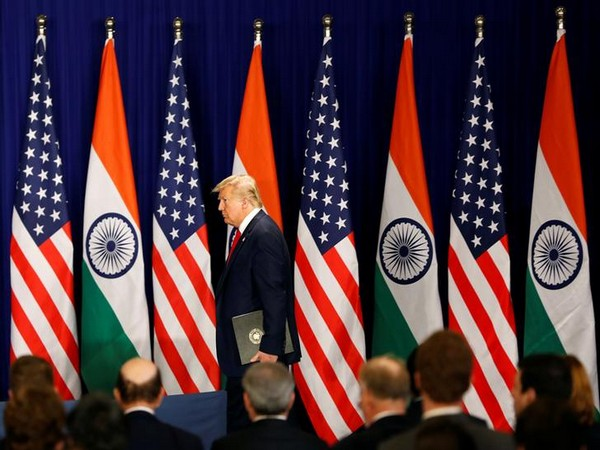 US President Donald Trump arrives for a news conference in New Delhi, India, February 25.