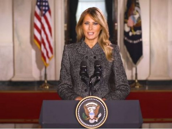 US First Lady Melania Trump speaking during her farewell speech on Monday (local time).