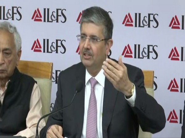 IL&FS chairman Uday Kotak addressing a press conference on Tuesday in Mumbai. Photo/ANI