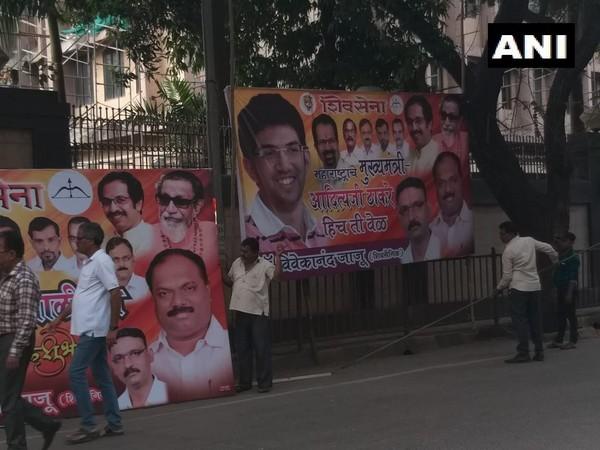Posters reading 'Chief Minister of Maharashtra only Aaditya Thackeray' were taken off from the Thackeray residence in Mumbai on Thursday. Photo/ANI