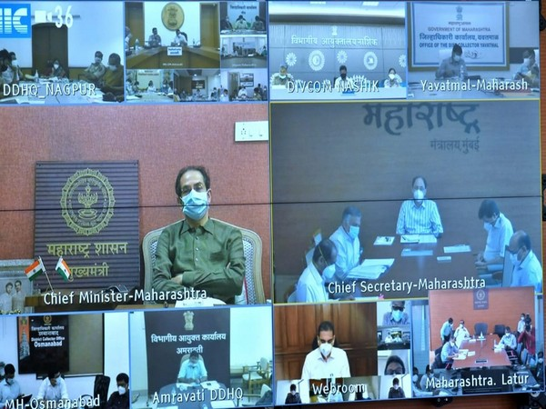 Uddhav Thackeray in a virtual meeting with all district collectors. (Photo/ANI)