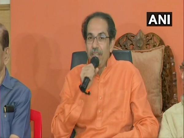 Shiv Sena chief Uddhav Thackeray speaking at a press conference in Mumbai on Thursday. Photo/ANI
