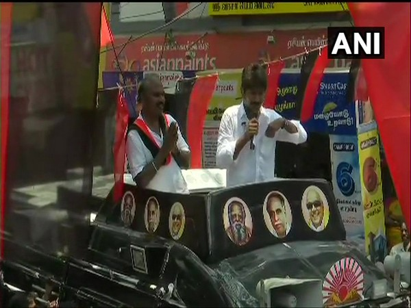 Udhayanidhi Stalin speaking during a roadshow in Chennai on Sunday