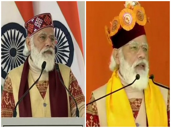 Prime Minister Narendra Modi during his speeches on Saturday. Photo/ANI