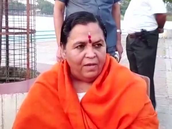Senior BJP leader Uma Bharti at Haridwar on Friday. Photo/ANI