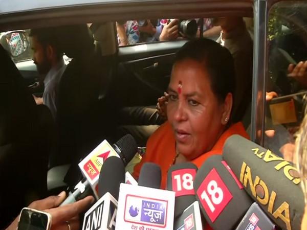 BJP leader Uma Bharti speaking to reporters in New Delhi on Saturday. Photo/ANI