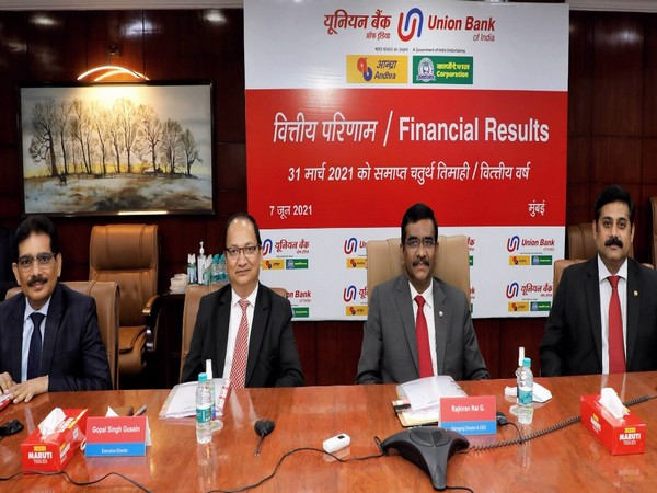 Rajkiran Rai G, Managing Director and CEO, Union Bank Of India with other members at a press conference held in Mumbai. (Photo/ANI)