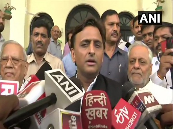 SP chief Akhilesh Yadav speaking to reporters in Lucknow on Wednesday.