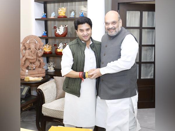 Union Minister Amit Shah meeting BJP leader Jyotiraditya Scindia on Thursday in New Delhi. Photo/ANI