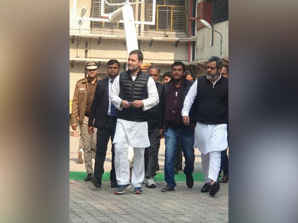 Congress leader Rahul Gandhi casts his vote at Aurangzeb Road in New Delhi on Saturday.