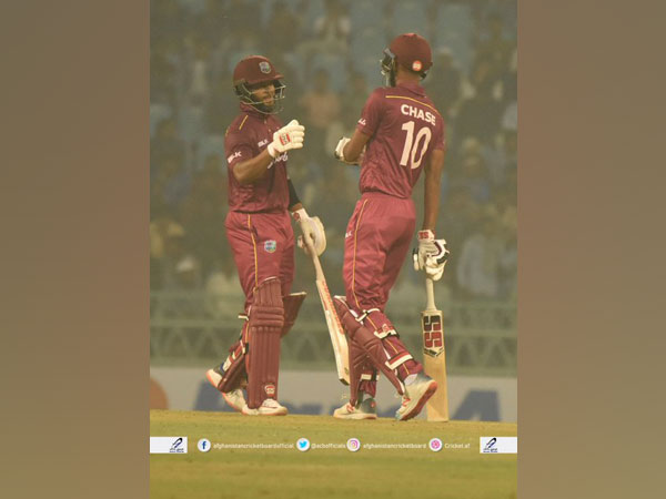 Roston Chase and Shai Hope in action against Afghanistan in first ODI at Lucknow (Photo/ Afghanistan Cricket Board Twitter)