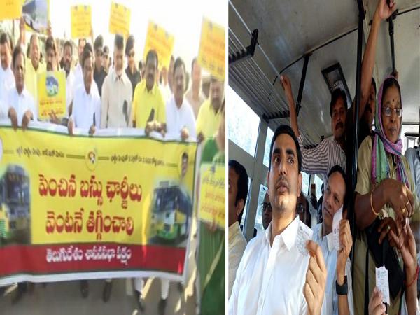 TDP leader Chandrababu Naidu (left) and Nara Lokesh (right) in Amaravati on Wednesday. Photo/ANI