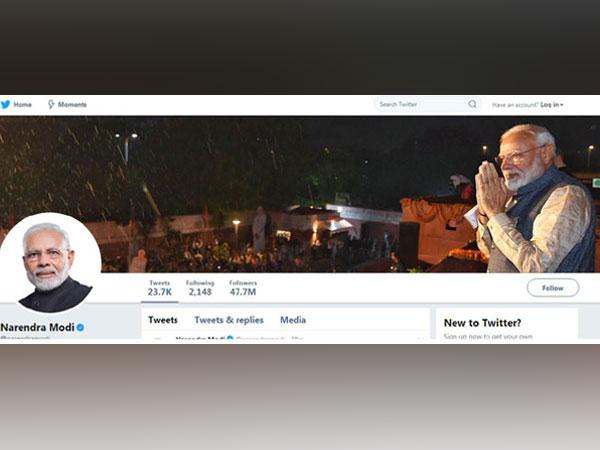 Narendra Modi Twitter handle. Photo/ANI