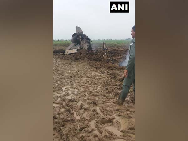 The crashed MiG-21 aircraft in Gwalior on Wednesday. Photo/ANI