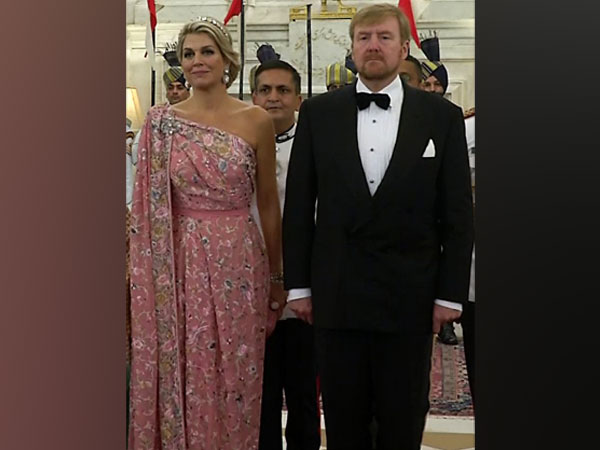 Queen Maxima redefines elegance in specially tailored pink saree gown