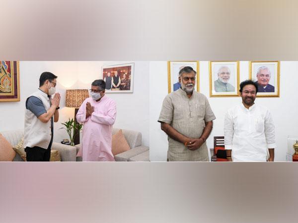 Visuals of ministers: Kiren Rijiju met Ravi Shankar Prasad (Left), Prahlad Patel with G Kishan Reddy (right) (Photo/ANI)