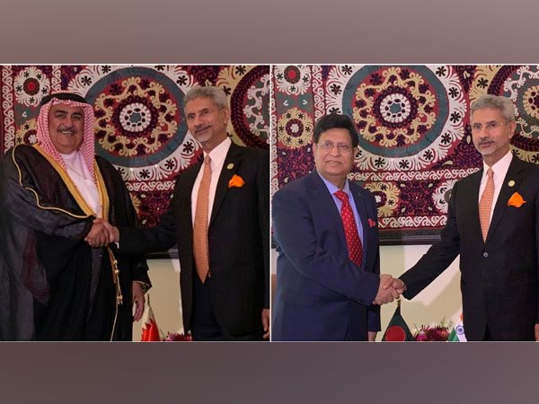 External Affairs Minister S Jaishankar on Friday met the foreign ministers of Bangladesh and Bahrain, AK Abdul Momen and Khalid bin Ahmed Al-Khalifa in Dushanbe on Friday. (Credits: MEA Twitter)