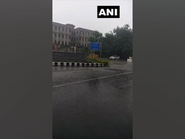 Rain lashes part of the national capital, visuals from near the Delhi airport. (Photo/ANI)