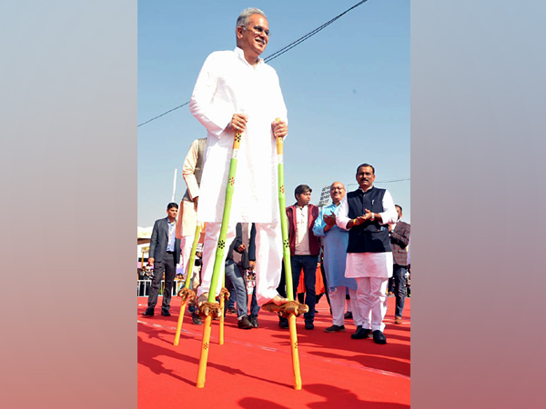 Chief Minister Bhupesh Baghel after the inauguration of Chhattisgarh Youth Festival 2020 in Raipur on Sunday. (Photo/ANI)