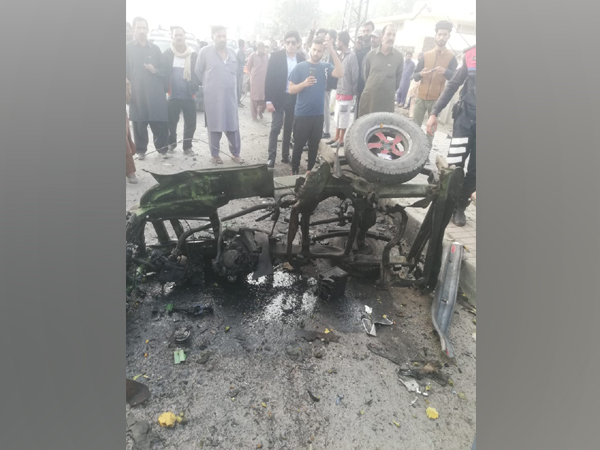 The rickshaw damaged in an alleged cylinder blast in Lahore on Friday.