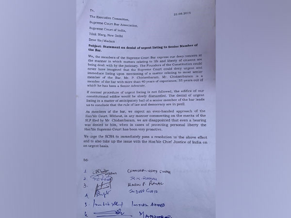 A grab of the letter written by Senior advocates of the Supreme Court [Photo/ANI]
