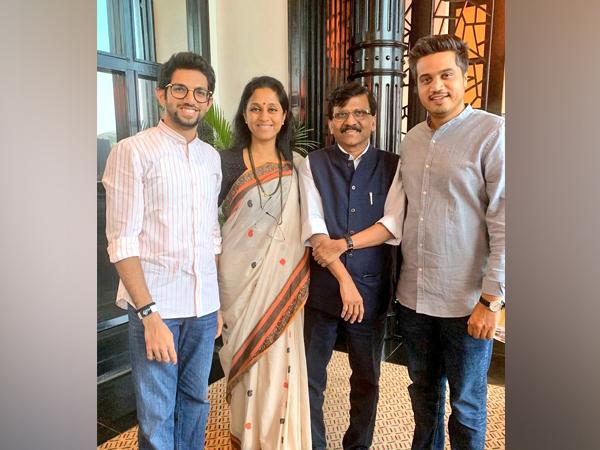 Aaditya Thackeray with Supriya Sule, Sanjay Raut and Rohit Pawar. Photo/Twitter