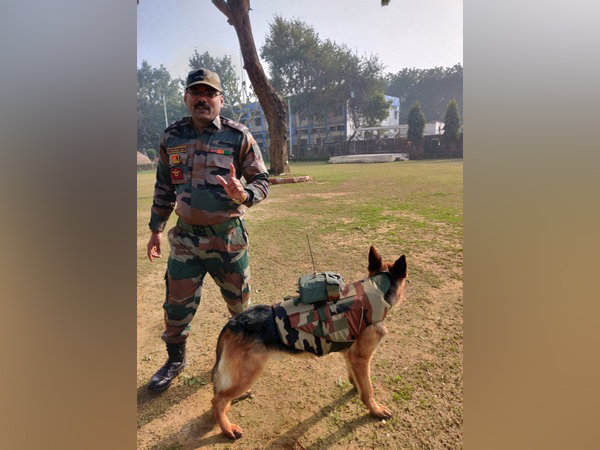 Lieutenant Colonel V Kamalraj with the dog mounted AV device. Photo/ANI